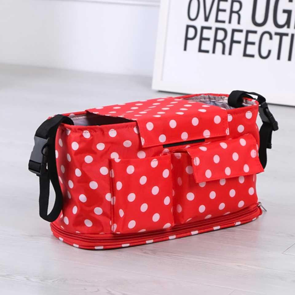 กระเป๋าสำหรับเก็บของสัมภาระติดรถเข็น ลายจุด (สีแดง)