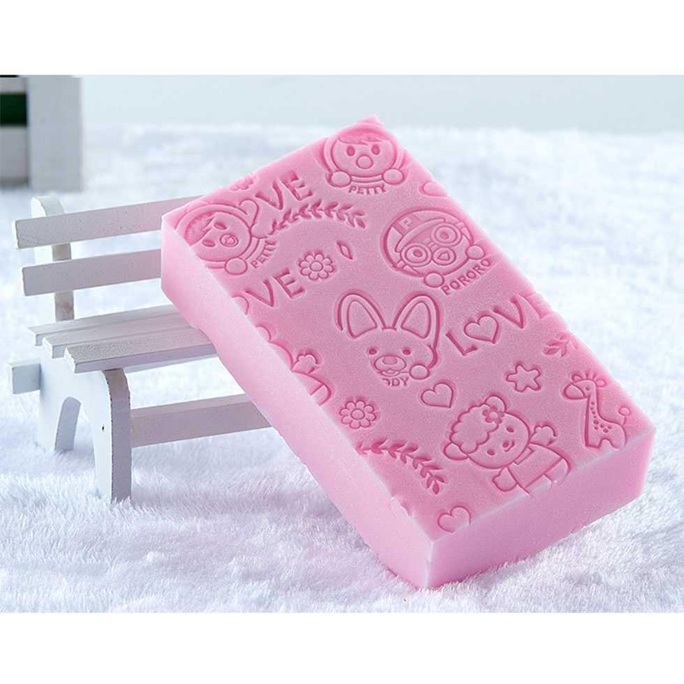 ฟองน้ำสำหรับอาบน้ำเด็ก สีชมพู