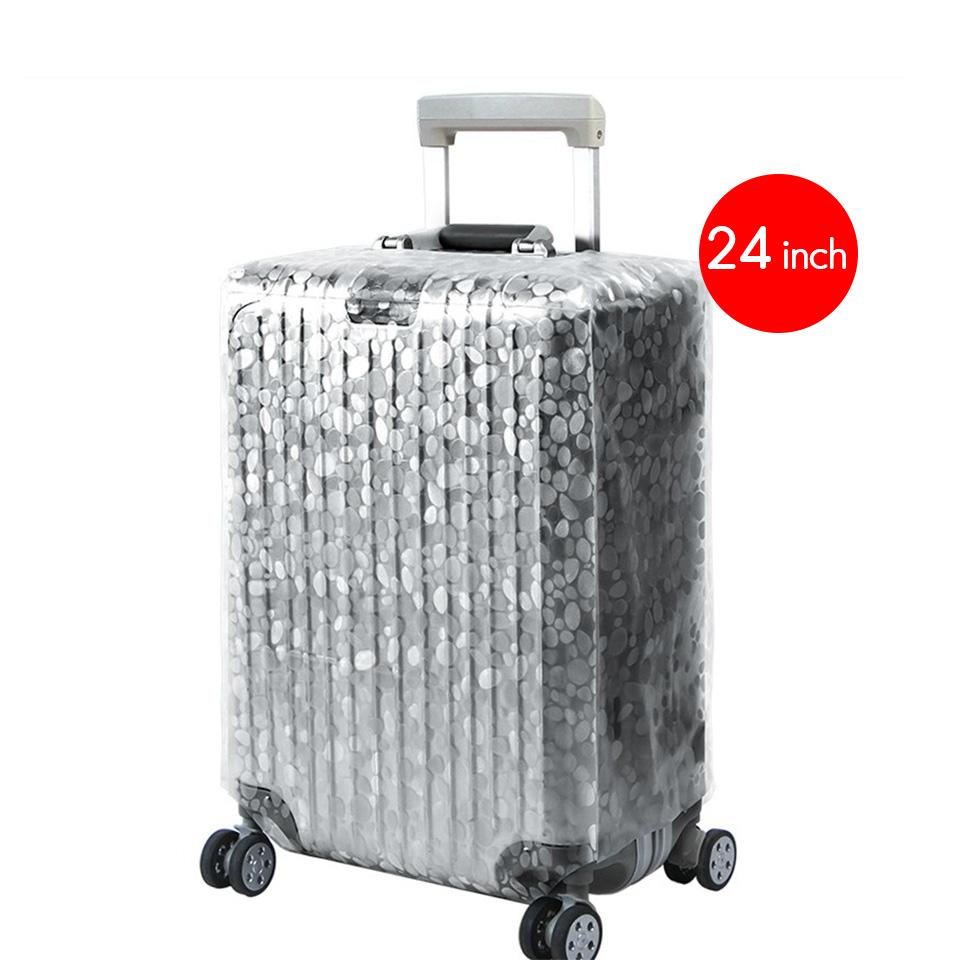 ผ้าคลุมกระเป๋าเดินทาง ขนาด 24 นิ้ว แบบใส ลายจุด