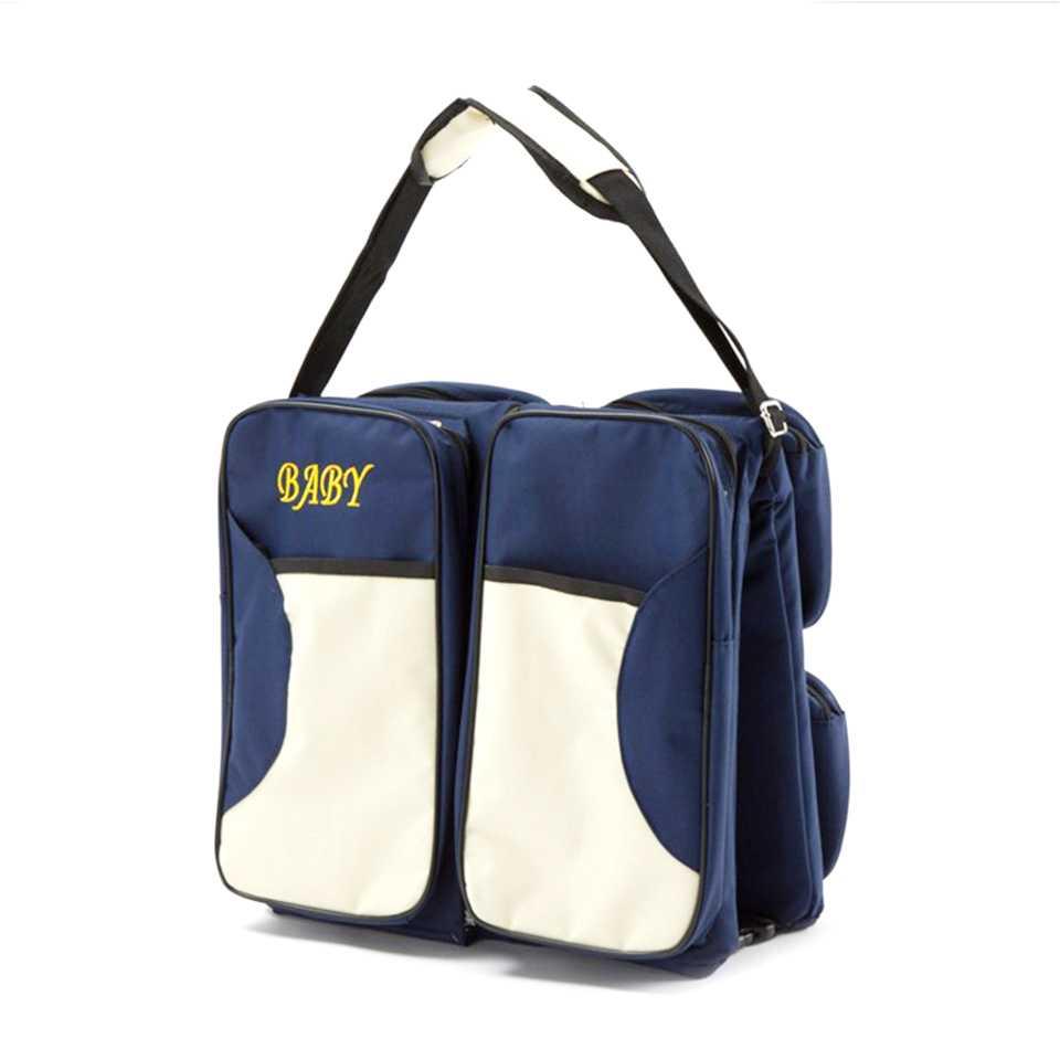 baby life ที่นอนเด็กแบบใหม่ กระเป๋า 2 in 1 แบบพกพา พับเก็บได้ สะพายได้ สีน้ำเงิน