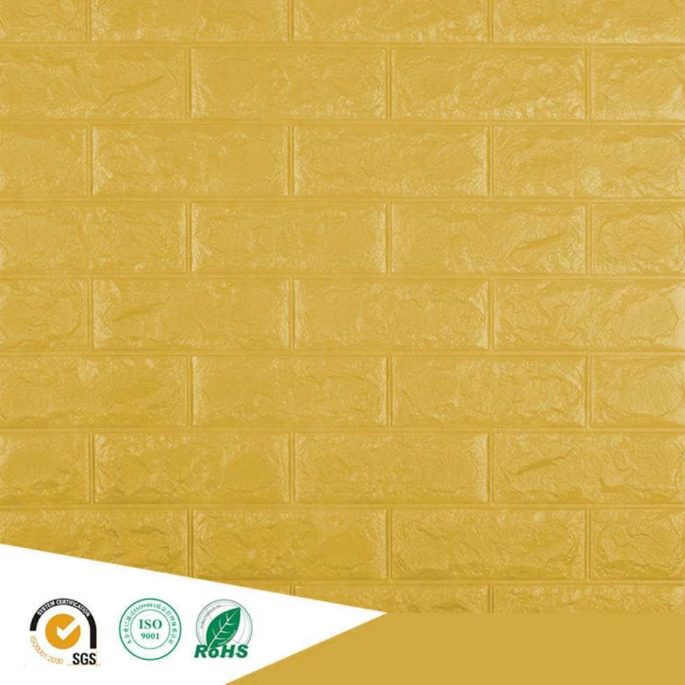 Wallpaper ติดผนังโฟม 3D ลายอิฐ สีเหลืองมัสตาร์ด