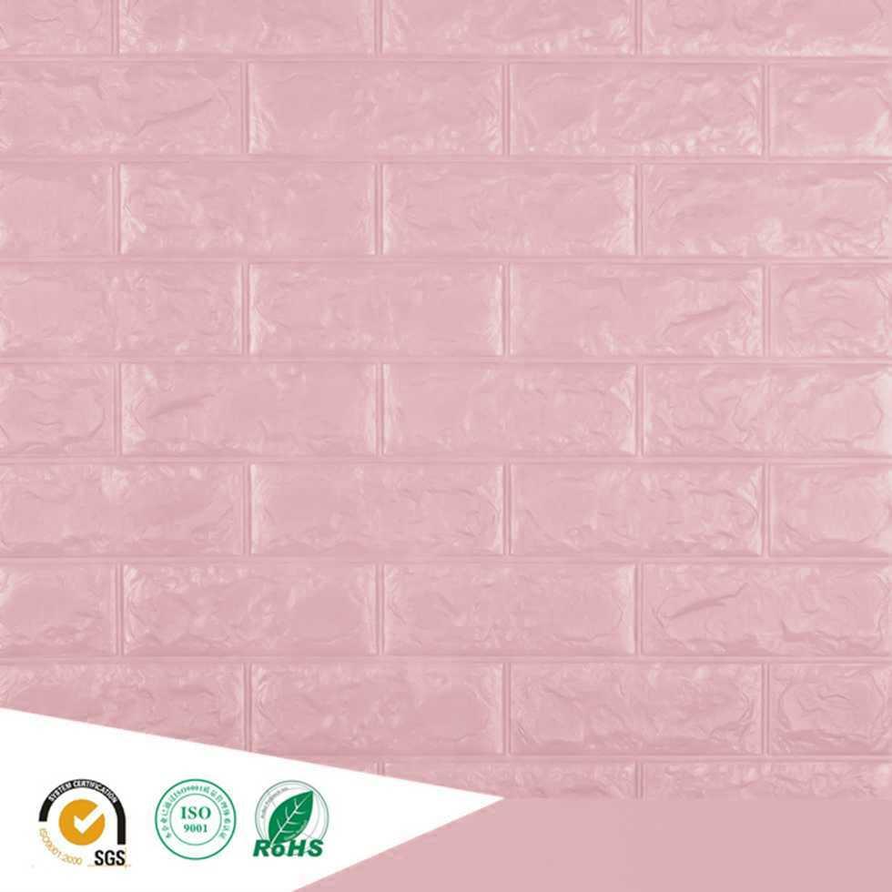 Wallpaper ติดผนังโฟม 3D ลายอิฐ สีชมพูอ่อน