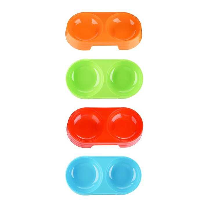 ชามใส่อาหารสัตว์เลี้ยง แบบ 2 หลุม (สีส้ม) หรือ 11/86-3 สีส้ม ชามอาหารสัตว์ 2 ช่อง
