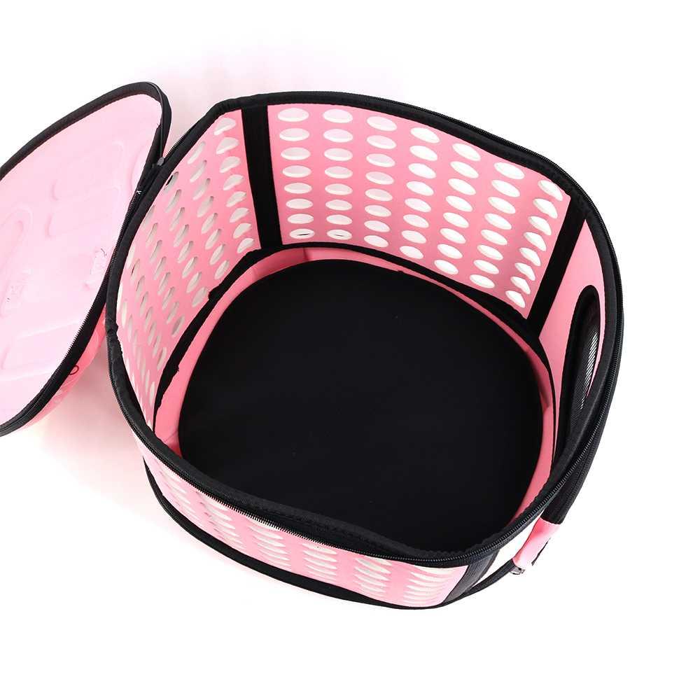 กระเป๋าใส่สัตว์เดินทางแบบพับได้ Size L สีชมพู หรือ 11/65-1 สีชมพู SIZE L กระเป๋าใส่สัตว์เลี้ยงพกพา