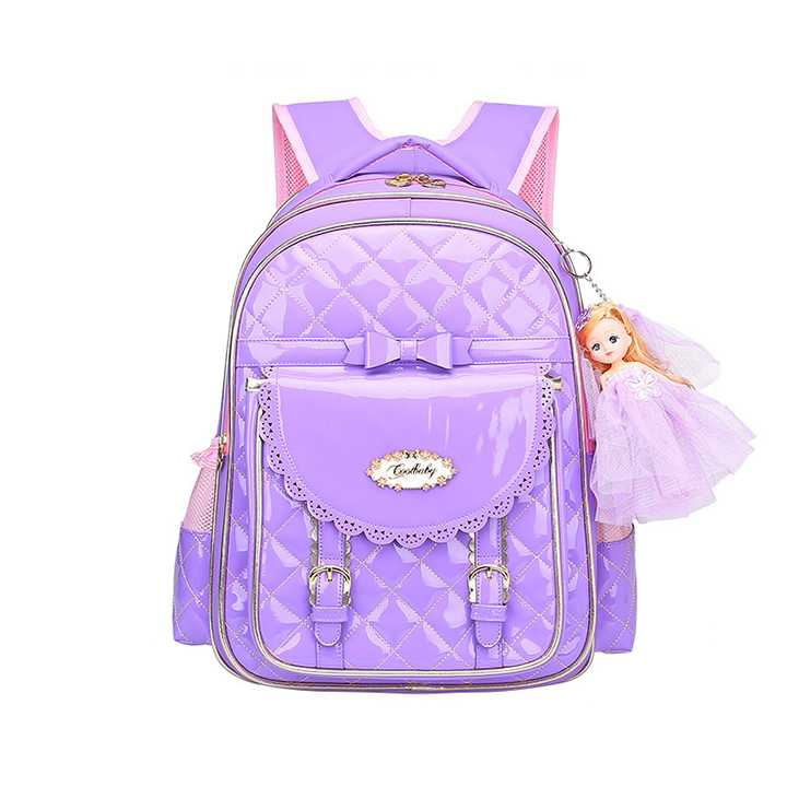กระเป๋าเป้เด็กผู้หญิง Princess Style แถมฟรี! พวงกุญแจเจ้าหญิงแสนสวย (สีม่วง)