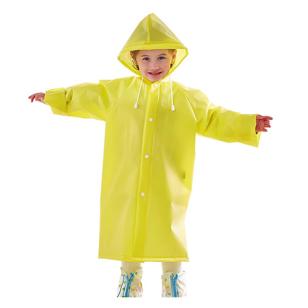 เสื้อกันฝนพร้อมหมวกสำหรับเด็ก Size XL สีเหลือง