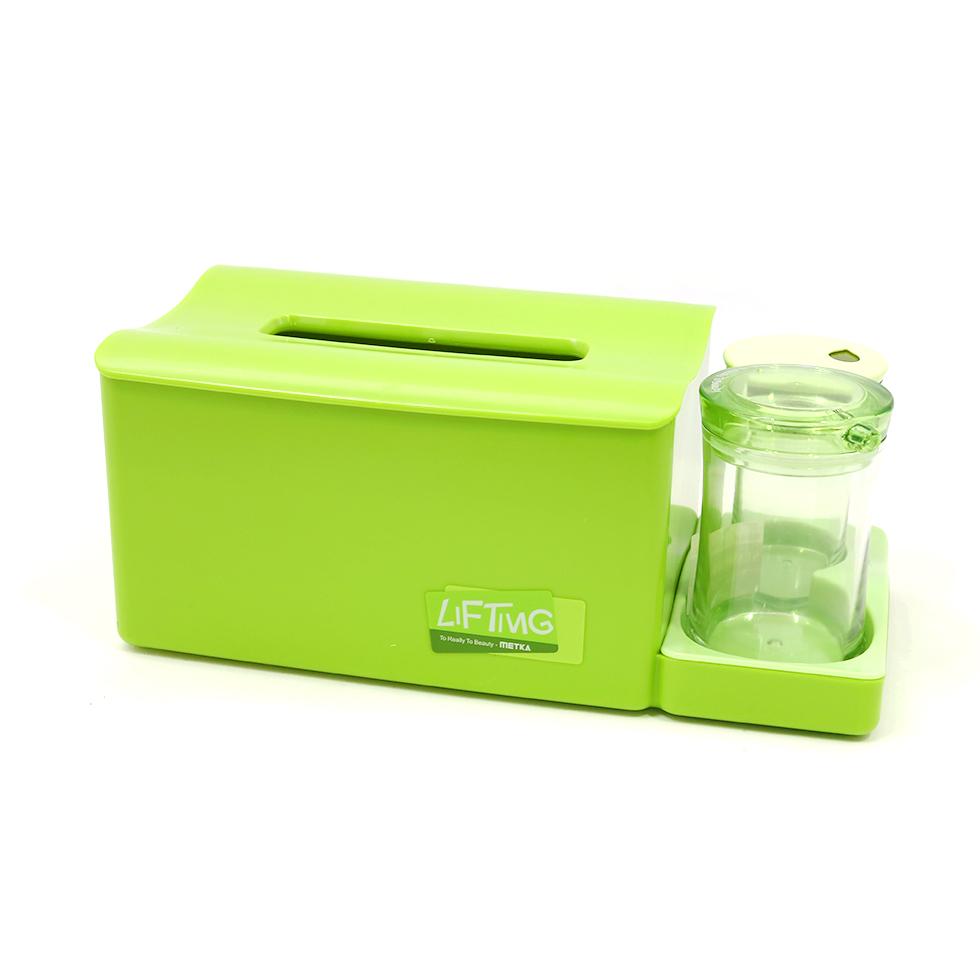 กล่องใส่ทิชชูพร้อมกล่องไม้จิ้มฟันและคอตตอนบัด สีเขียว