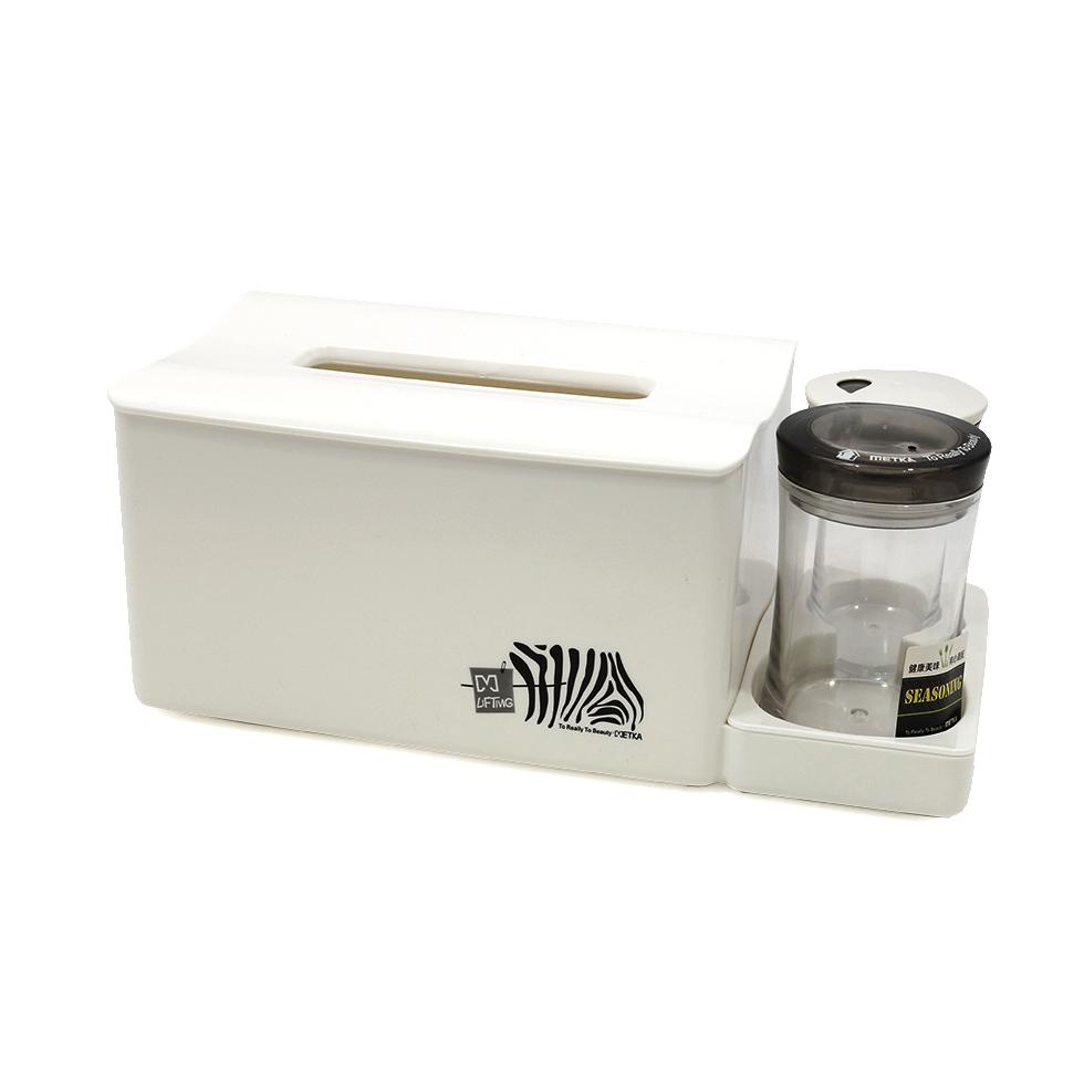 กล่องใส่ทิชชูพร้อมกล่องไม้จิ้มฟันและคอตตอนบัด สีขาว
