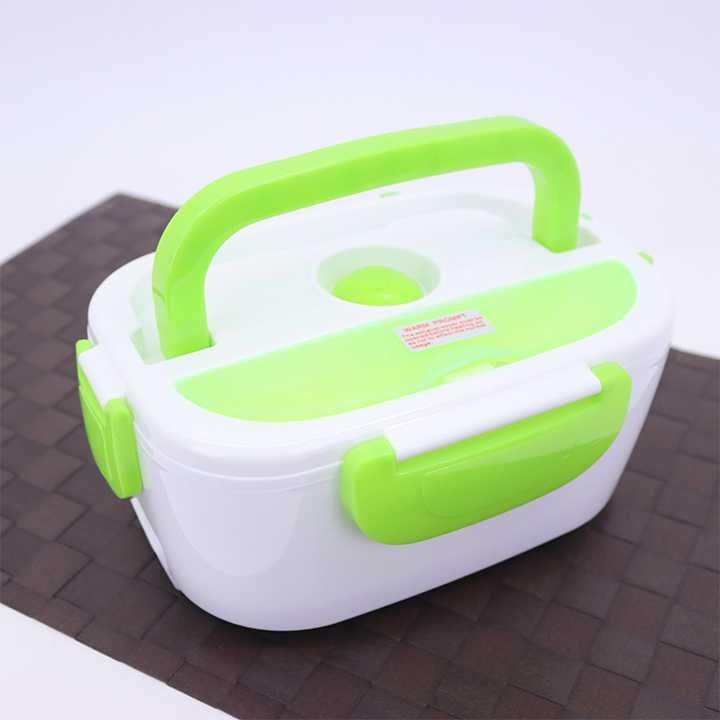 กล่องอุ่นอาหารไฟฟ้าแบบพกพา อุ่นร้อนอัตโนมัติ (สีขาว-เขียว)