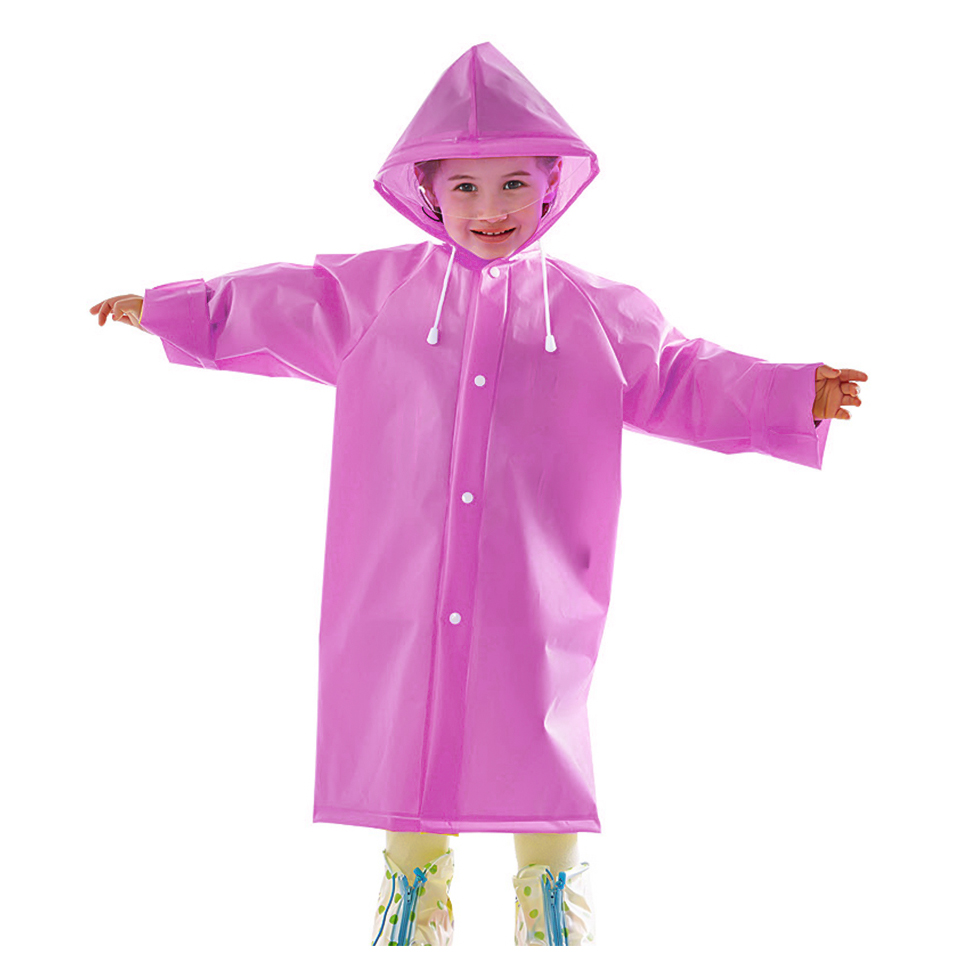 เสื้อกันฝนพร้อมหมวกสำหรับเด็ก Size M สีชมพู