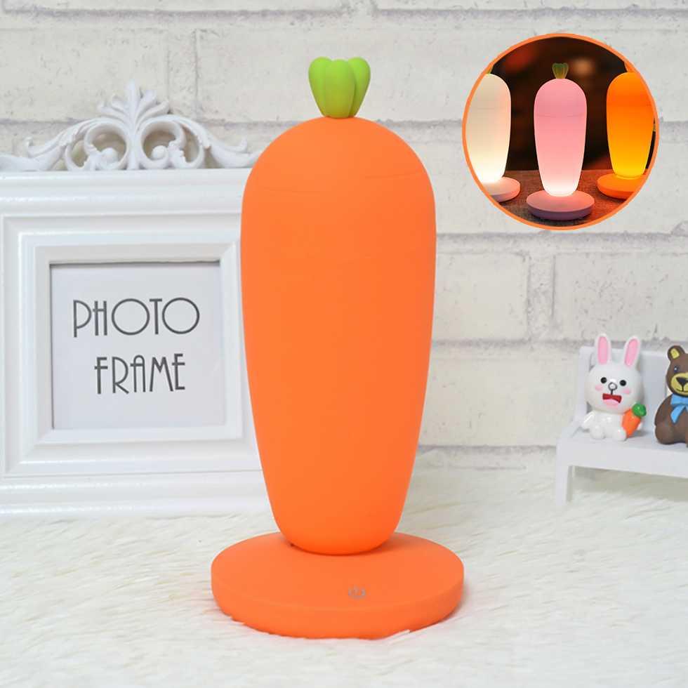โคมไฟ LED ทรงแครอทน่ารัก สีส้ม
