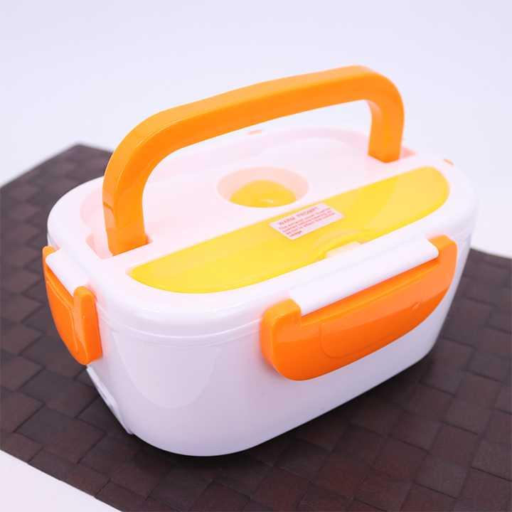 กล่องอุ่นอาหารไฟฟ้าแบบพกพา อุ่นร้อนอัตโนมัติ (สีขาว-ส้ม)