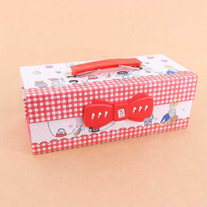 กล่องดินสออเนกประสงค์ 3 ชั้น มีรหัสล็อก ลาย Telephone (สีขาว-แดง) หรือ 18/18-9 สีแดง กล่องดินสอใส่รหัสผ่านได้