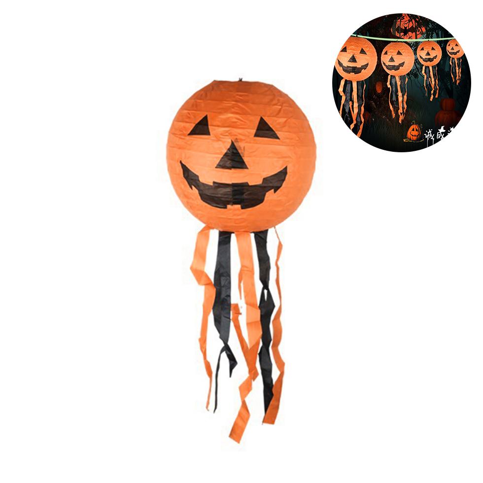 Halloween โคมไฟกระดาษ ลายฟักทอง พร้อมอุปกรณ์แขวน