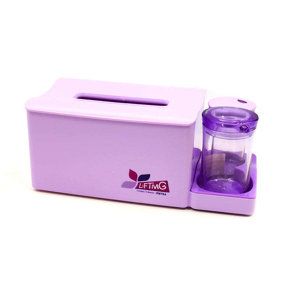 กล่องใส่ทิชชูพร้อมกล่องไม้จิ้มฟันและคอตตอนบัด สีม่วง