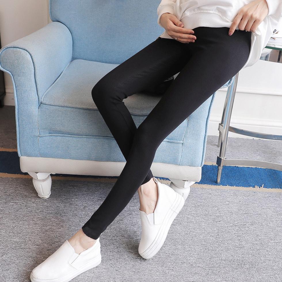 กางเกงสตรีมีครรภ์ขายาว ปรับเอวได้ สีดำ