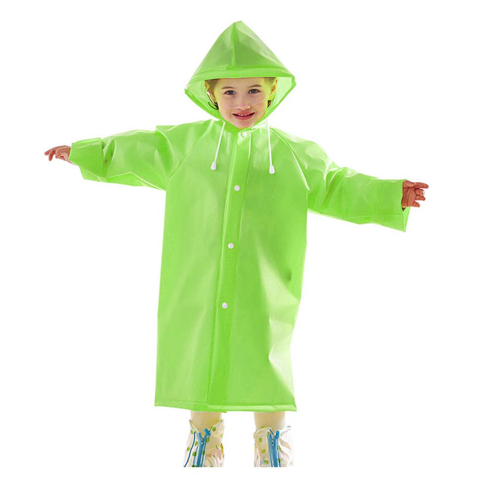 เสื้อกันฝนพร้อมหมวกสำหรับเด็ก Size M สีเขียว